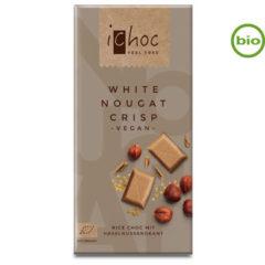 Chocolate vegano blanco con avellanas y crujiente iChoc